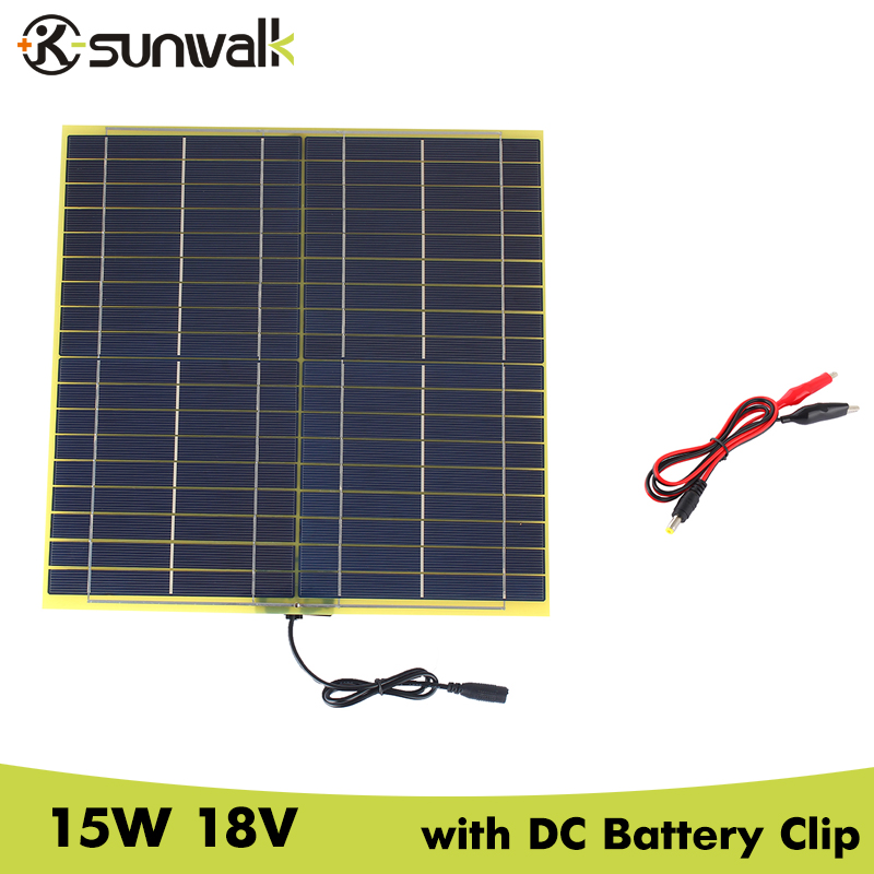 SUNWALK 15W 18V Solar Cell Panel with DC Output Crocodile Clip Solar panel for DIY Solar System 12V Car Battery 322*322mm