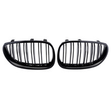 For BMW 5 Series E60 E61 4 doors 2003 2004 2005 2006 2007 Car Style Gloss Black Dual Fin Front Kidney Grills Grille D25