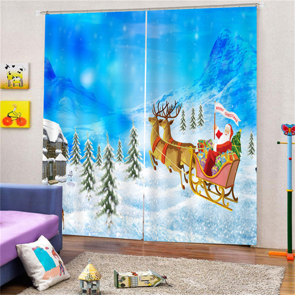 RZCortinas Christmas Curtains Santa Clause Snowman Elk Printed Window Curtains For Living Room Bedroom Kids' Curtain Home Decor