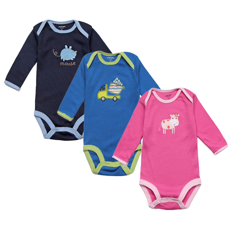 цена на 3Pcs Unisex Baby Rompers Spring Newborn Baby Clothes Long Sleeve Infant Baby Boy Jumpsuits Roupa Bebes Baby Girl Clothing Sets