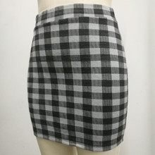 1 pc spring and summer Women Skirt  High Waist Pencil Skirts Elastic Slim Office  Black and plaid  Skirt Two styles