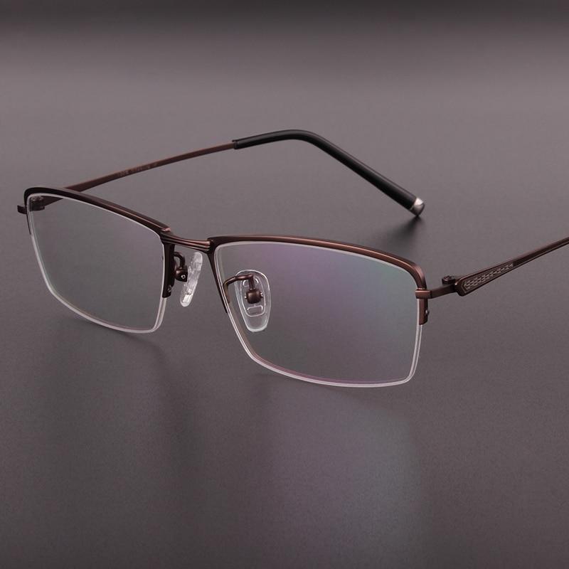 Genuine high end Business men glasses pure titanium Half box frame mens glasses frames Prescription glasses 9927 in Men 39 s Eyewear Frames from Apparel Accessories