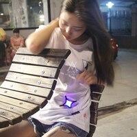 2017 new fashion summer t shirt women cotton comfortable t shirt women clothing Luminous T shirt LED clothing MVNS T0006