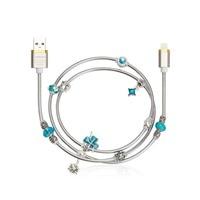 (Azul) angibabe resorte de alambre cable USB 2a 1 M DIY embutido diamante cable de datos de carga rápida para iPhone 8 7 6 IPad aire