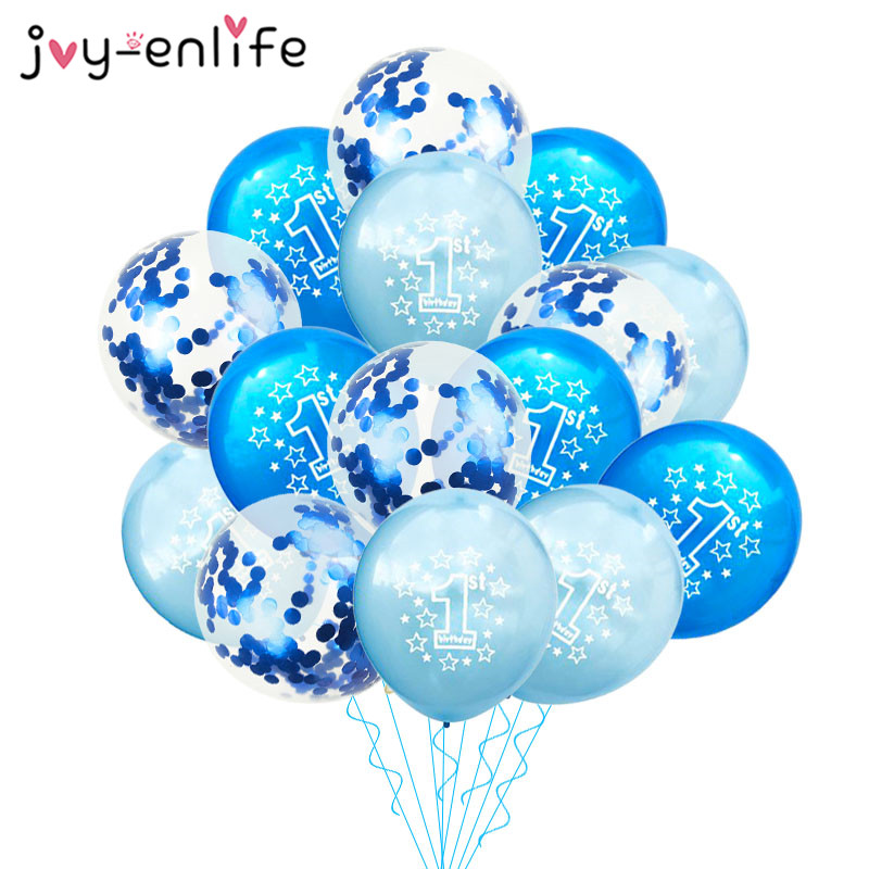 JOY-ENLIFE 10pcs Blue 1st <font><b>Birthday</b></font> Balloon One <font><b>1</b></font> Year Old First Happy <font><b>Birthday</b></font> <font><b>Party</b></font> <font><b>Decor</b></font> Latex Ballon Baby Shower Girl Favor image