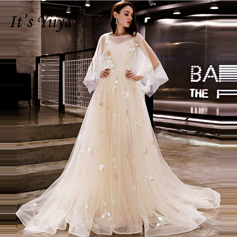 It's YiiYa   Evening     Dress   2018 Embroidery Floral Champagne O-neck Big Sleeve A-line Train Dinner Gowns LX1286 robe de soiree