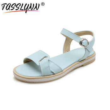 TASSLYNN 2018 sandalias de las mujeres romano plana con bajo tacones de zapatos de verano Zapatos casuales Correa hebilla puerta zapatos de mujer tamaño 34-43