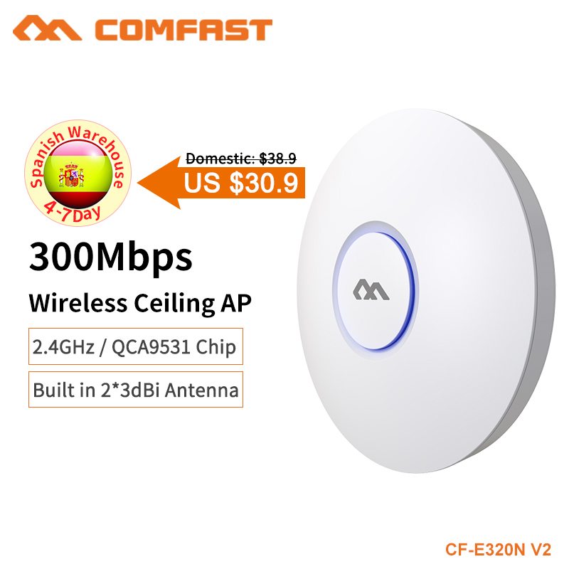 COMFAST 300Mbps Wifi Access Point Home Networking 2.4G Indoor Ceiling Mount Wifi Repeater Router 48 POE AP Amplifier CF E320N V2