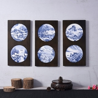 Creative Wooden Frame Ceramic Plate Wall Decoration Office Vintage Art Crafts Hand Painted Landscape Pattern Dish Adornment Gift
