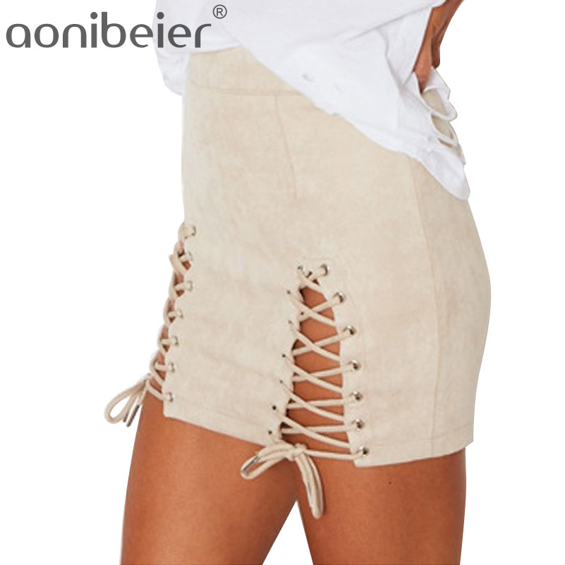 Aonibeier Sexy High Waist Bandage Mini Skirt With Two Side Vents Spring Autumn Fashion Faux Suede Casual Short Skirts Lace Up