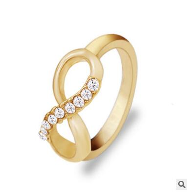 ra352  2018 new fashion temperament metal crystal 8 words rings simple Female charm jewelry Best gift for friends