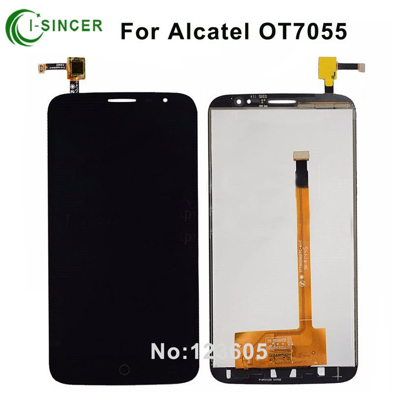 Black Full LCD DIsplay + Touch Screen Digitizer Assembly For Alcatel One Touch Hero 2C OT7055 OT 7055 Free Shipping