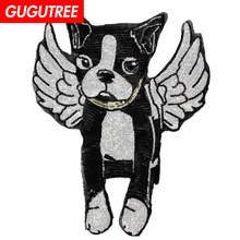 GUGUTREE embroidery Sequins big dogs patches animal badges applique for clothing XC-25