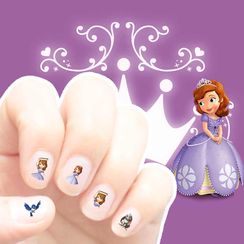 2 pçs/lote adesivos Disney brinquedo neve princesa congelado 3D nail sticker crianças não-tóxico de miúdos dos desenhos animados prego adesivos à prova d' água