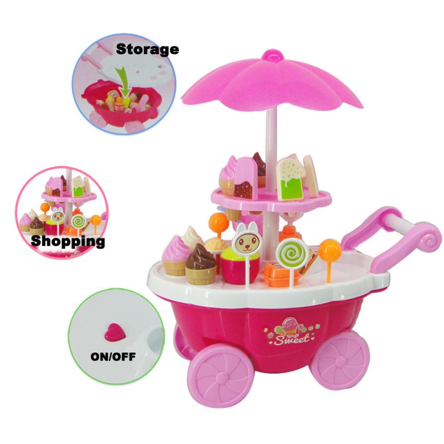 New Kids Toys Simulation Mini Candy Ice Cream Trolley Shop Pretend Play Set 39PC Z802