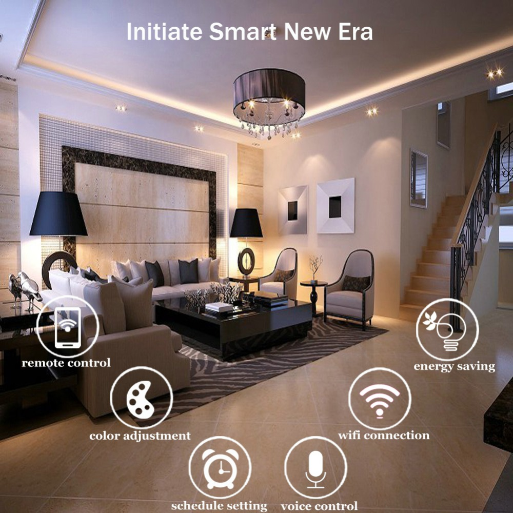 Умная лампа Moonlight, голосовое дистанционное управление Wifi Moonlight умная светодиодная RGBW лампа, умная светодиодная Alexa Echo Google Home Tuya Smart IFTTT - 6
