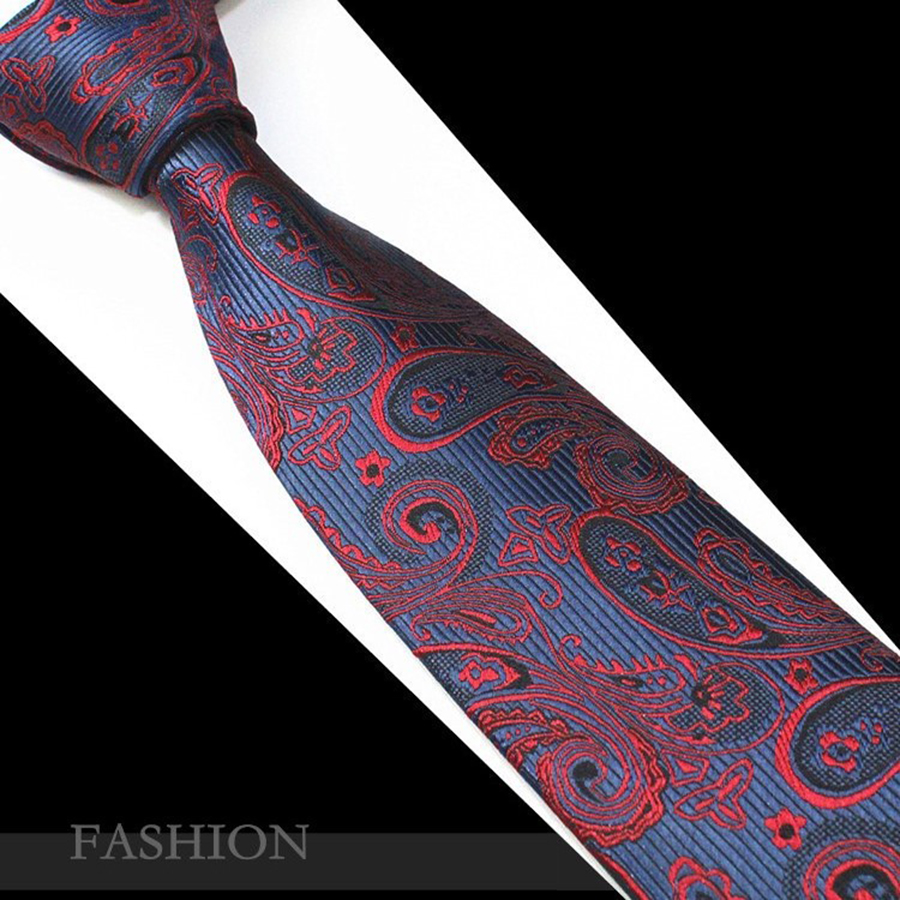RBOCOTT Red Paisley Tie Fashion Silk Jacquard Woven Ties For Men Wedding And Birthday Neck Ties 7cm Mens Christmas Party Necktie