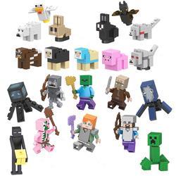 Одна распродажа Legoinglys Minecrafted Мини фигурки животных Стив Alex зомби Creeper селяджер Legoing Minecrafting строительные блоки