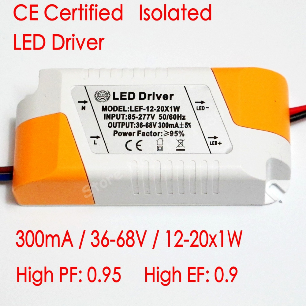 CE Certified Isolated 300mA 12-20x1W Led Driver 12W/15w/18W/20w Power Supply DC 36V - 68V AC 110V 220V For LED Lights