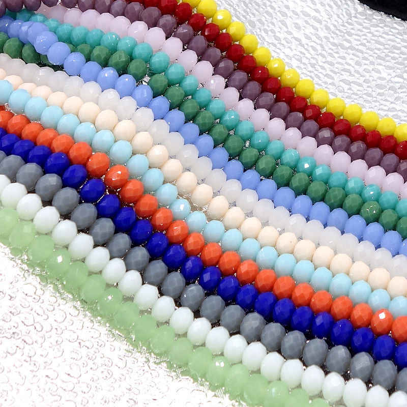 BEAUCHAMP 4*3mm Crystal Beads Rondelle Faceted Mix Color Jewelry Findings Spacer Lariat Bracelet Necklace Brincos Accessories