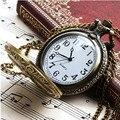 Leitoso Unisex Antique Caso Vintage Latão Rib Cadeia Quartzo Relógio de Bolso Reloj de Trem relógio de bolso reloj de bolsillo DEC16