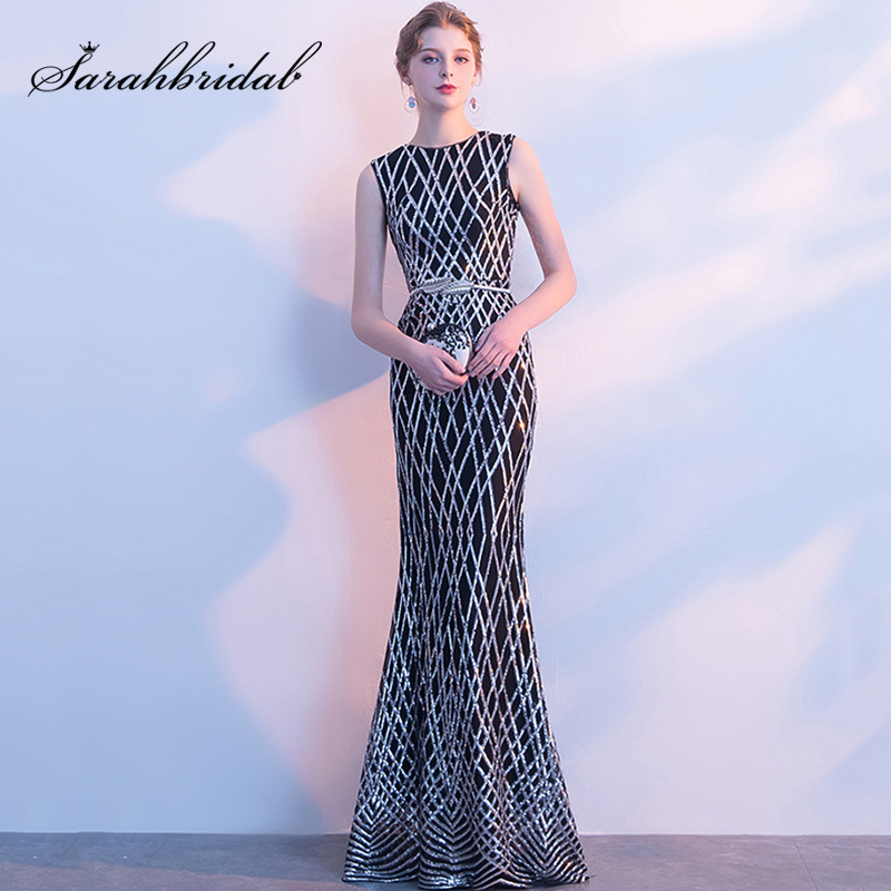 New Arrival Mermaid   Prom     Dresses   Black with Silver Sequin Glitter Tulle Cheap High Neck Zipper Back Evening Party Gowns L3106