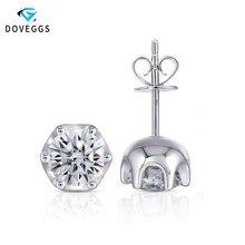 DovEggs Platinum Plated Silver Moissanite Stud Earrings for Women Party Anniversary 2CTW 6.5mm H Color Moissanite Earrings