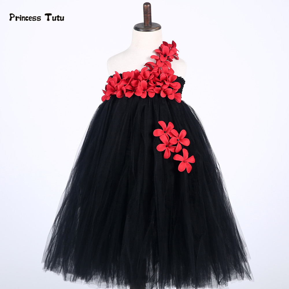 купить Princess Tulle Girl Dress Black Flower Tutu Dress Kids Pageant Model Dresses For Girls Wedding Birthday Party Costume Vestidos дешево