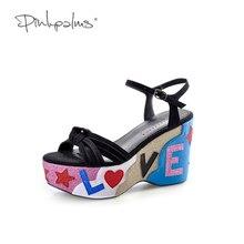 Palms สีดำรองเท้าส้นสูงรองเท้าแตะลำลองรองเท้าแตะ glitter Pink