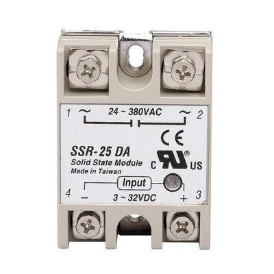 Relais à semi-conducteurs monophasé industriel SSR-25DA 25A en fait 3-32 V DC à 24-380 V dc contrôle ac SSR-25DA