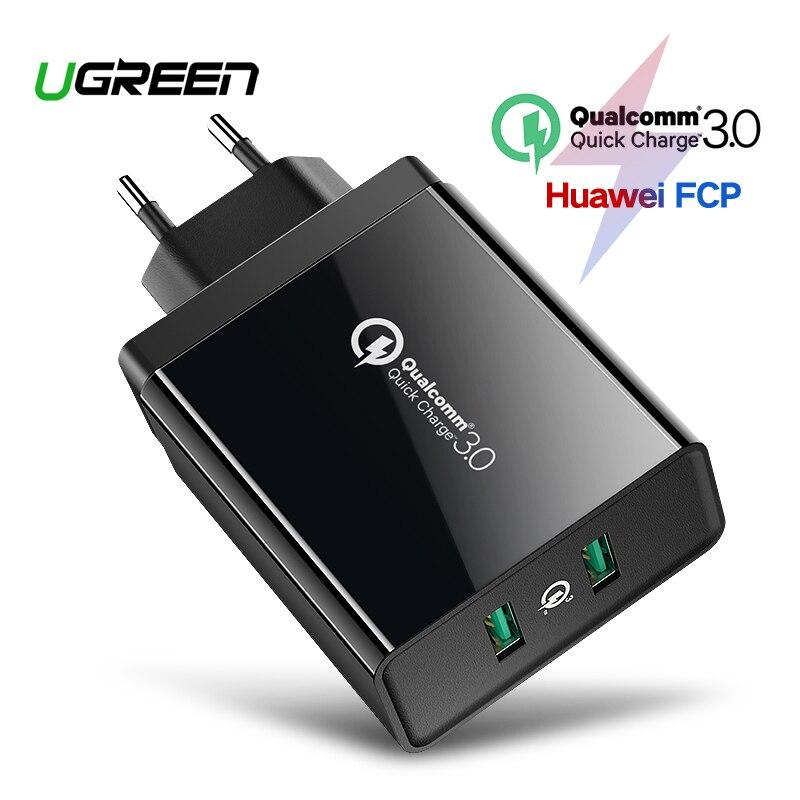 Ugreen carga rápida 3,0 36 W cargador USB para iPhone X 8 rápido QC 3,0 cargador para Samsung Galaxy s9 s10 Xiaomi mi 8 9 cargador USB