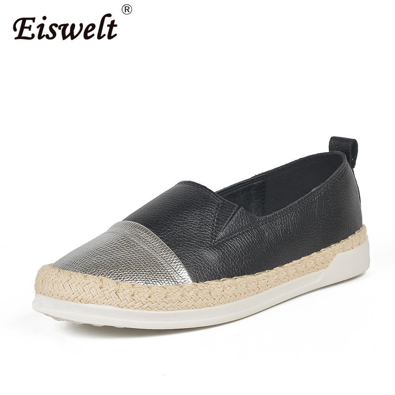 EISWELT Summer Spring 2018 Women Glitter Loafers Summer Slip on Flats Fisherman Shoes Woman Casual Flat Shoes Fashion Comfot eiswelt women summer flats hollow shoes female breathable ladies new shoes flat fashion women casual shoes women s loafers