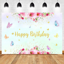 NeoBack Baby Happy Birthday Photography Backdrops Pink Watercolor Flower Background Butterfly Girl Dessert Table Decorate Props
