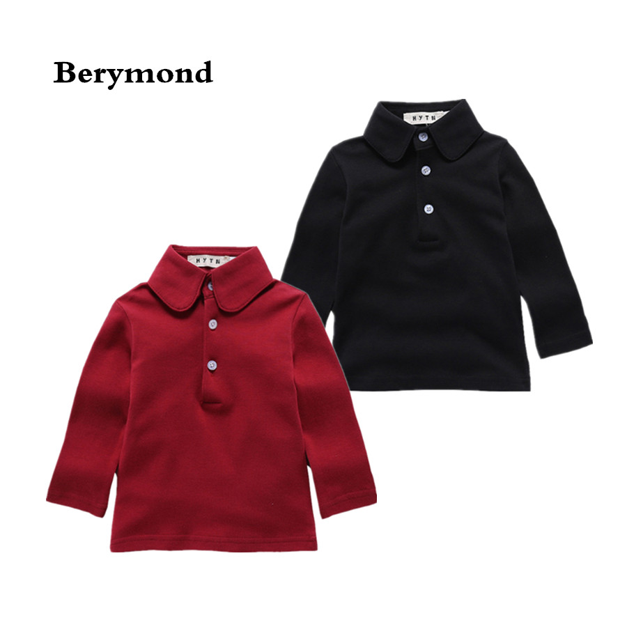 2e75d6f21 Kids Autumn Shirt Toddler School Uniform 1-4T Baby Boys Gils Polo Shirts  Spring Long Sleeve Solid Lapel Casual Shirt