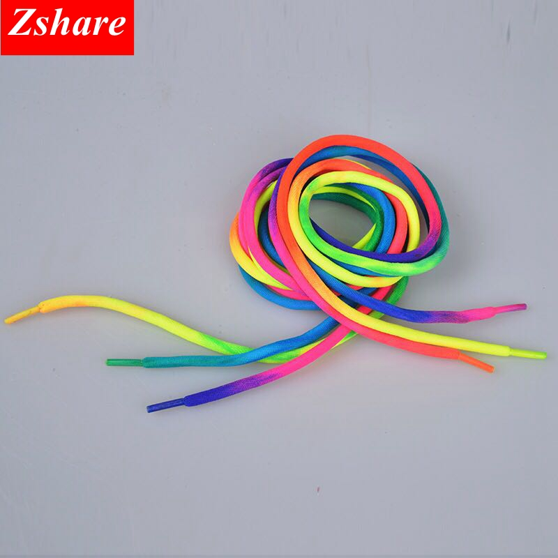 1 Pairs Rainbow Shoelaces Round Sneaker Shoe Laces Fashion Colorful ShoeLace For All Shoes 100CM 120CM Strings YC-1