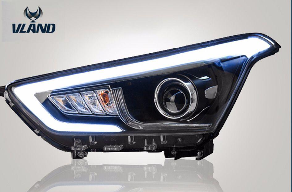 Бесплатная доставка головной лампы автомобиля Вланд для Hyundai IX25 LED лампы светодиодные головного света дневного света DRL Ксеноновые Fit ФОТ 2014