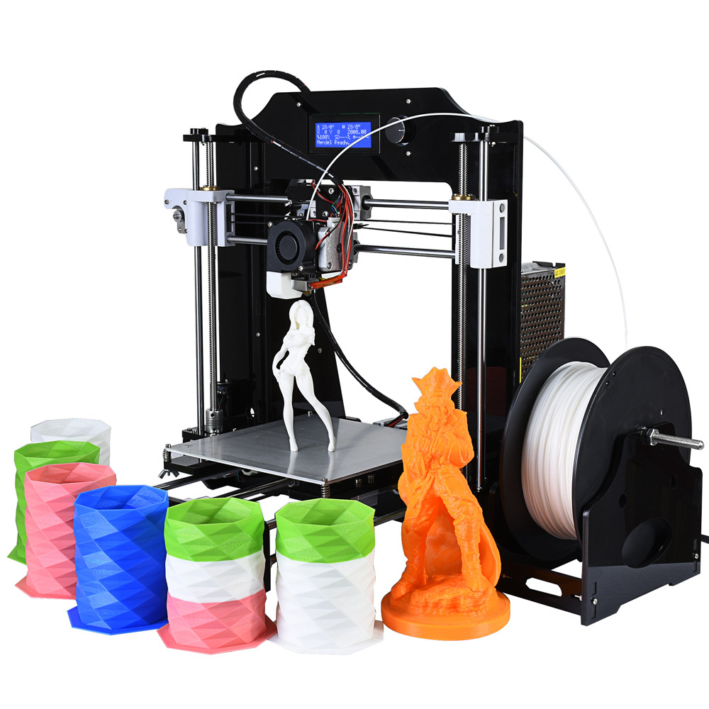 Faster Preheat High Precision Reprap Prusa i3 3d printer DIY kits with with 1 roll free PLA filament 8GB SD card HD LCD for free