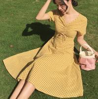 vintage dress women summer plaid slim dress cotton linen v neck short sleeve a line dress