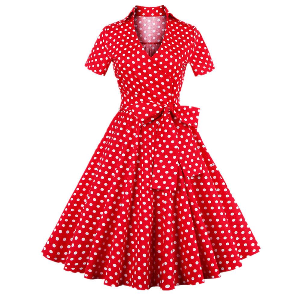 Joineles женское ретро платье 60s винтажные платья 4XL рокабилли женское платье в стиле свинг с v-образным вырезом в горошек платье для девочек платья для вечеринок