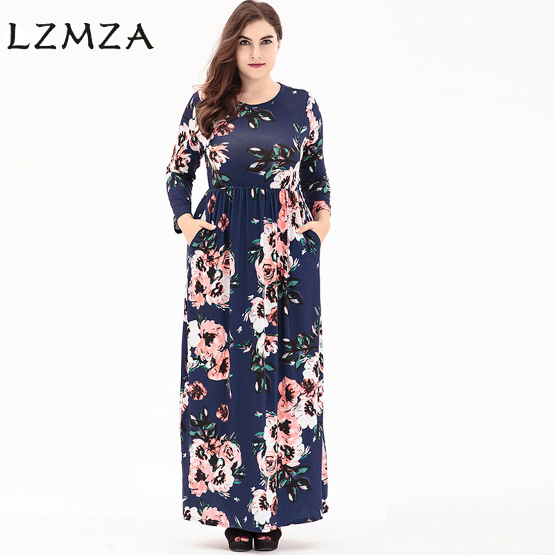 LZMZA Fashion Print Long Dress For women Spring long sleeve Pockets Casual Maxi winter Dresses plus