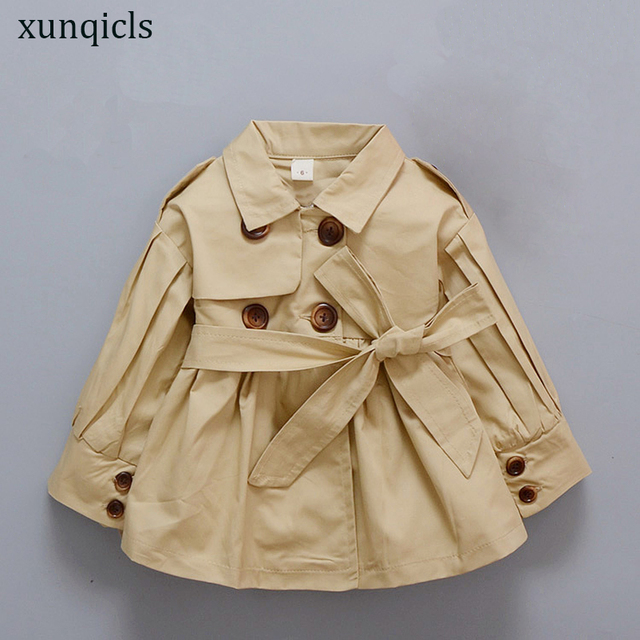 9537bdceb Girl Trench Coat Spring Autumn Baby Jacket Outwear Kids Overcoat ...