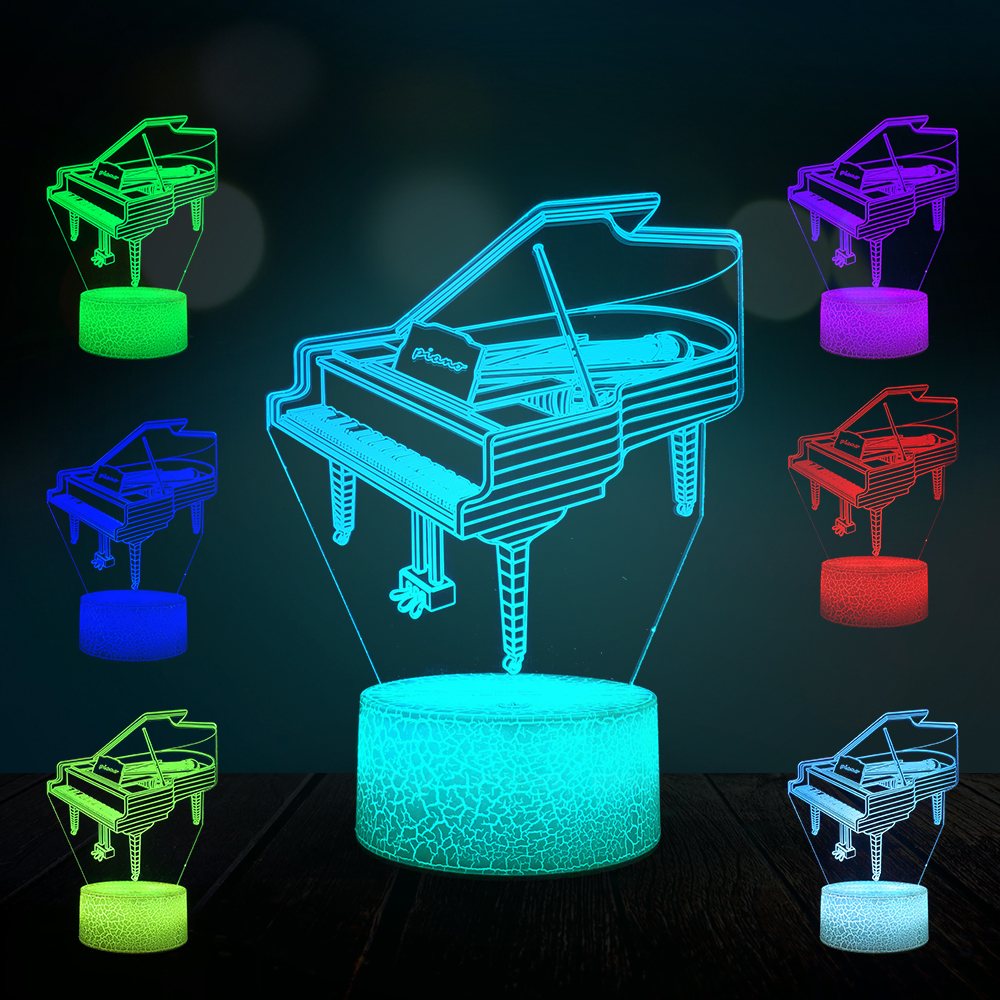 Creative Music Piano Musical instrument 3D Lamp LED USB Mood Night Light Multicolor Switch Touch Remote