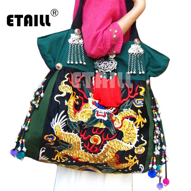 Vintage National Ethnic Chinese Dragon Embroidered Bag Double Faced Flower Embroidery One Shoulder Bag Sac Femme Bordado Bolsa
