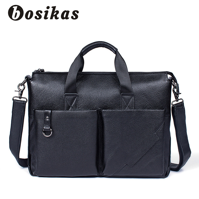 BOSIKAS Leather Laptop Bag 14inch Genuine Leather Men Bags Business Briefcases Zipper Crosssbody Bags Totes Men Shoulder Bag New genuine leather laptop bag waterproof 14inch business handbag men s should bag message notebook