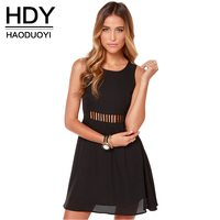 HDY Haoduoyi Fashion Women Hollow Tank Dress Sleeveless Cold Shoulder Female A Line Dress Sexy Backless