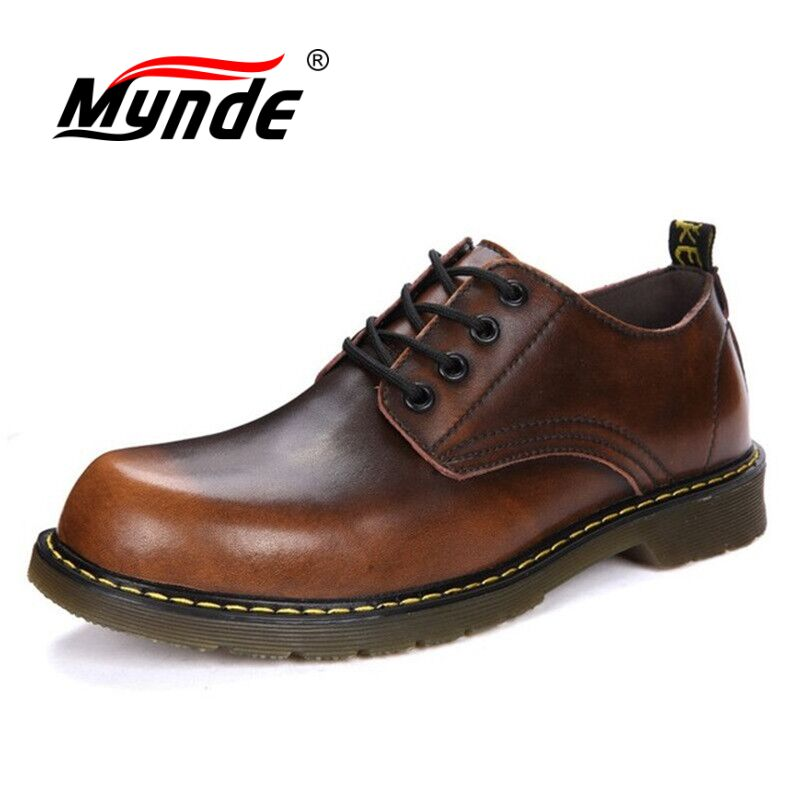 Mynde Brand Handmade Breathable Men's Oxford Shoes Top Quality Dress Shoes Men Flats Fashion Genuine Leather Casual Men Shoes стоимость