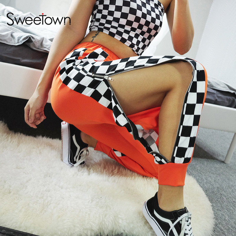Sweetown Harajuku Checkerboard Side Button Jogger Pants Streetwear Casual HighWaist Trousers Women Autumn Winter 2018 Sweatpants