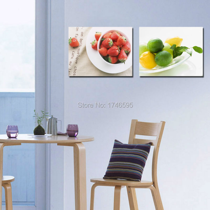 Big 2pcs Home Wall Decor Strawberry Lemon Fruits Art Picture Restaurant Dining Room