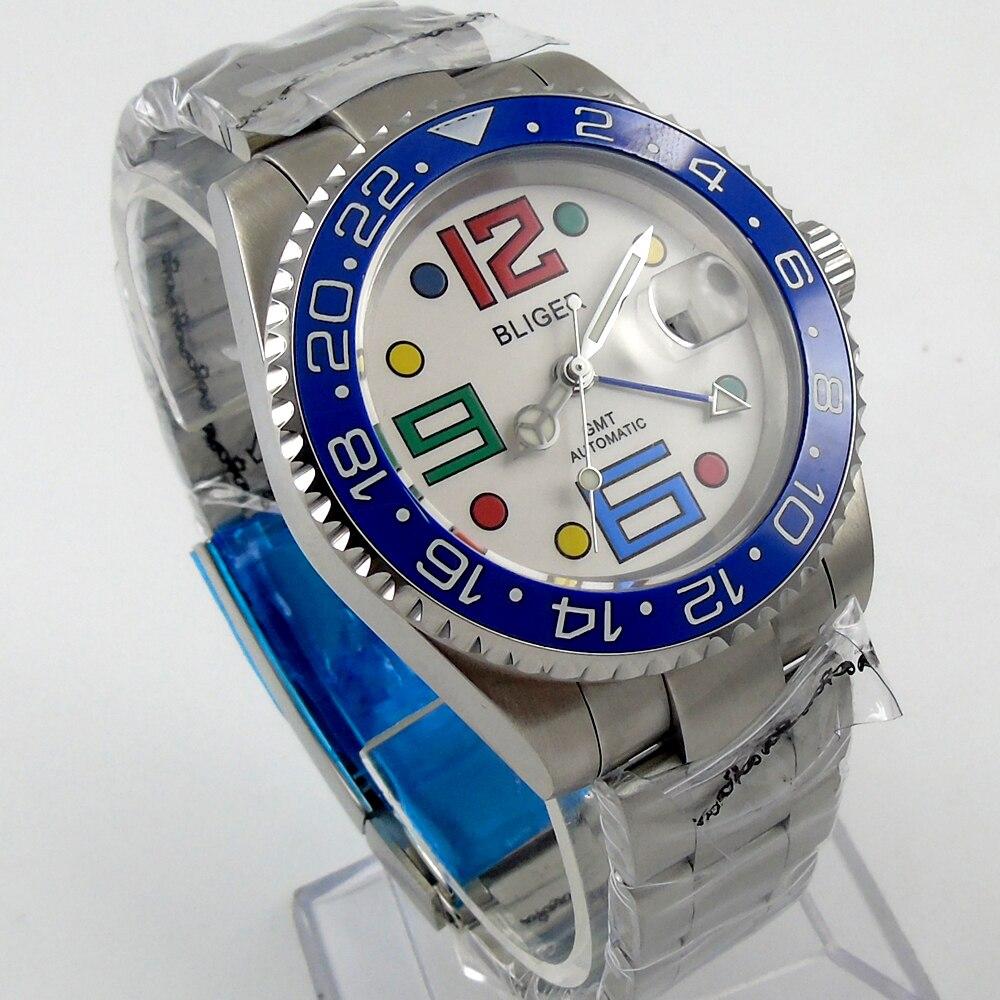 Bliger 40mm white dial date colorful marks luminous blue Ceramic Bezel GMT Automatic movement Men