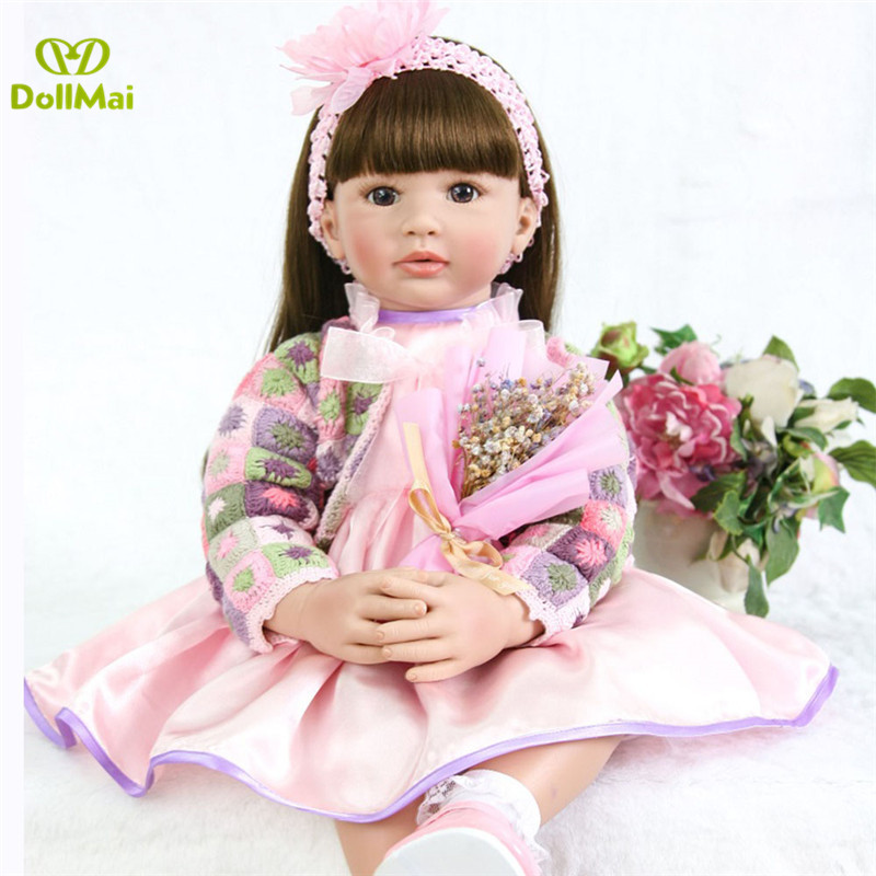60cm Silicone Reborn Baby Doll Toys 24inch Vinyl Princess Toddler Girl Babies Doll High Quality Bebes reborn realista 60cm Silicone Reborn Baby Doll Toys 24inch Vinyl Princess Toddler Girl Babies Doll High Quality Bebes reborn realista
